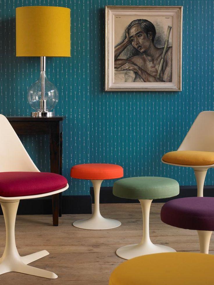 60s Knoll stools & chairs + Turner Pocock Cazalet teal cricket bat wallpaper