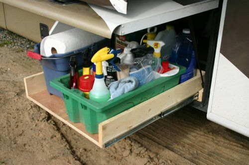 Home Made Slide Out Storage Tray Using Plywood And Heavy