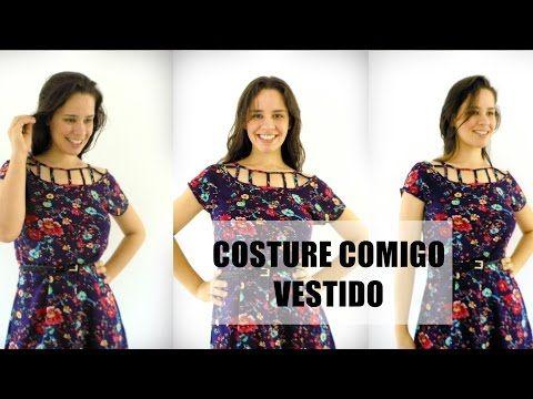Corte e costura - como fazer vestido com manga copinho e amarração estilo lace up   Ellen Borges - YouTube