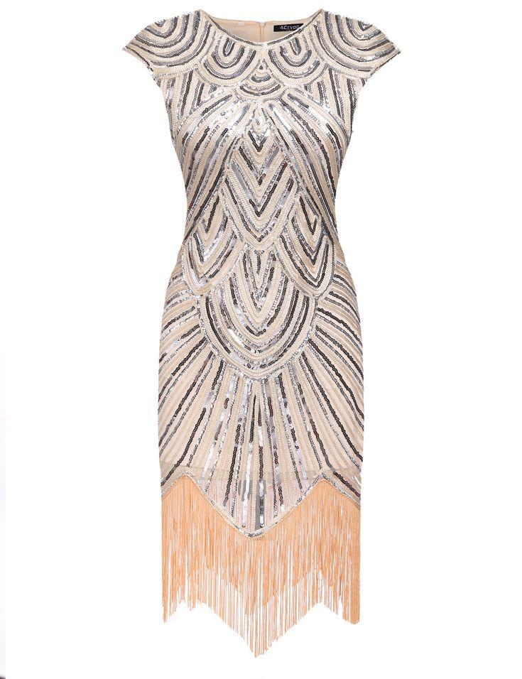 Beige 1920s Style Tassel Gatsby Flapper Dress