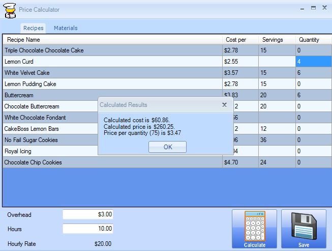 cake boss cake pricing calculator