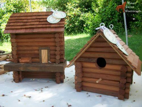 Handcrafted Log Cabin Bird Amp Bat Houses Gardening