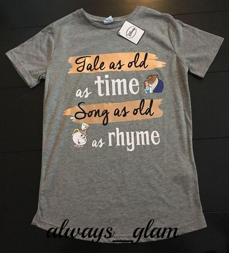 DISNEY BEAUTY & THE BEAST TALE AS OLD Licensed Ladies Primark T Shirt Various #Primark #Graphic
