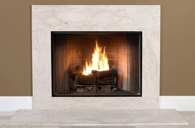 Antique beige marble squares alternative to and for Alternative fireplaces