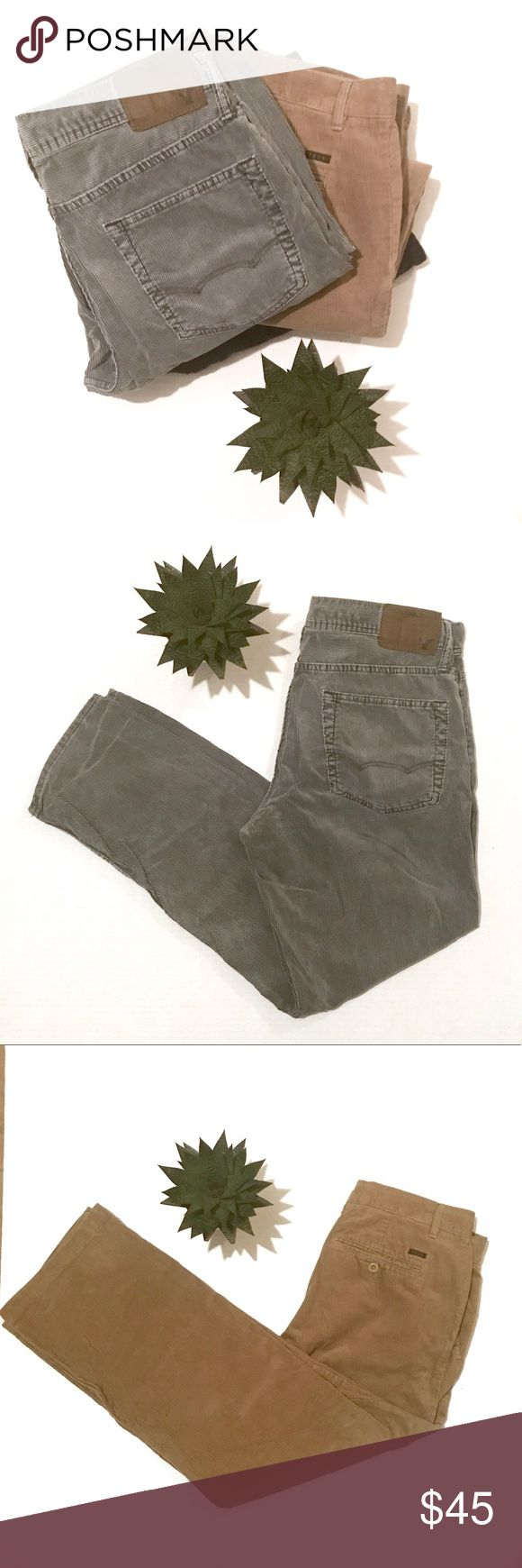Bundle x3// men's cords 2 pairs Izod (Black + Camel) and 1 pair American Eagle Outfitters (Grey/Green). Size x3 US Mens 34/30 && gently worn/washed. {Will not separate-thank you!} Bundle to save! Multiple Pants Corduroy