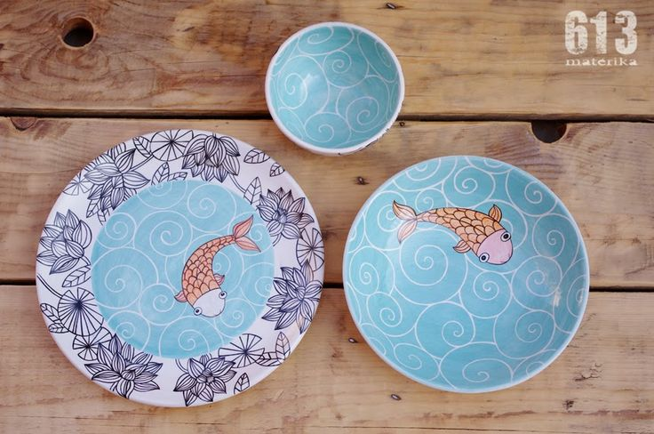 Tenía muchas ganas de enseñaros este conjunto de cerámica que terminé el pasado verano. {aaainnnsss...que ya estamos en otoño....} ...