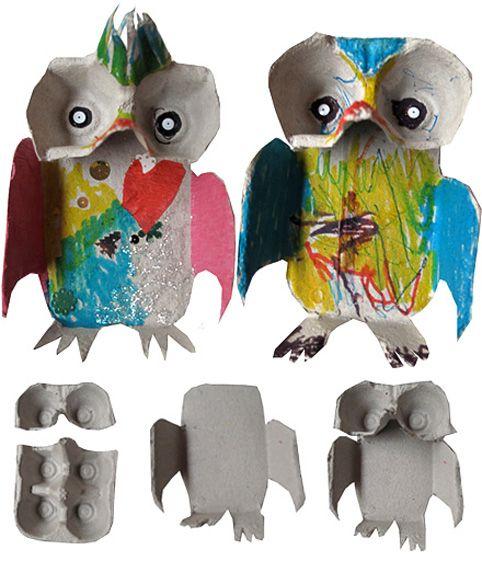 DIY Egg Carton Owls So Cute