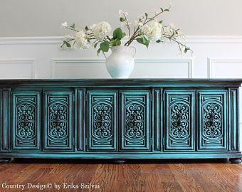 Pintado a mano Vintage francés país diseño Cottage Chic Shabby apenado resistido color turquesa / aguamarina aparador consola mueble