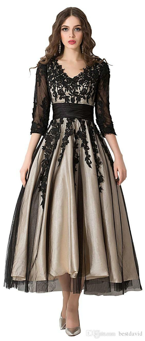 Sunvary Champagne And Black Tea Length Prom Evening Gowns For Mother Of The Bride Long Sleeves Lace Applique A Line V Neck Sheer Illusion Designer Evening Dresses Uk Dress Gowns From Bestdavid, $120.61| Dhgate.Com