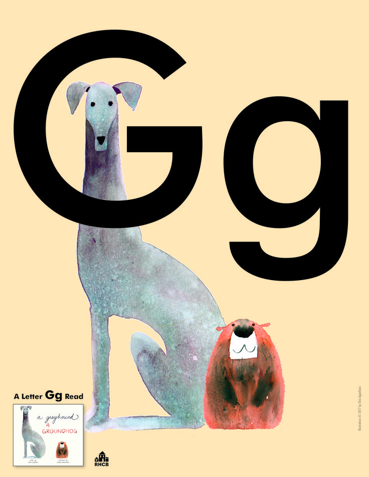 Letter Gg Card - print out and use to start a bulletin board display or letter collage. A Gorgeous Letter Gg read is A GREYHOUND, A GROUNDHOG.