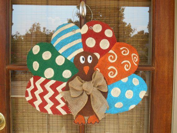 Thanksgiving Turkey Burlap Door Hanger
