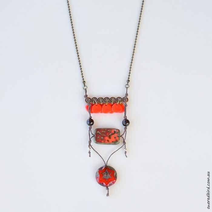 Orange Peel ~ Czech glass on brown hemp with antique brass ball chain ~ long, sits below sternum