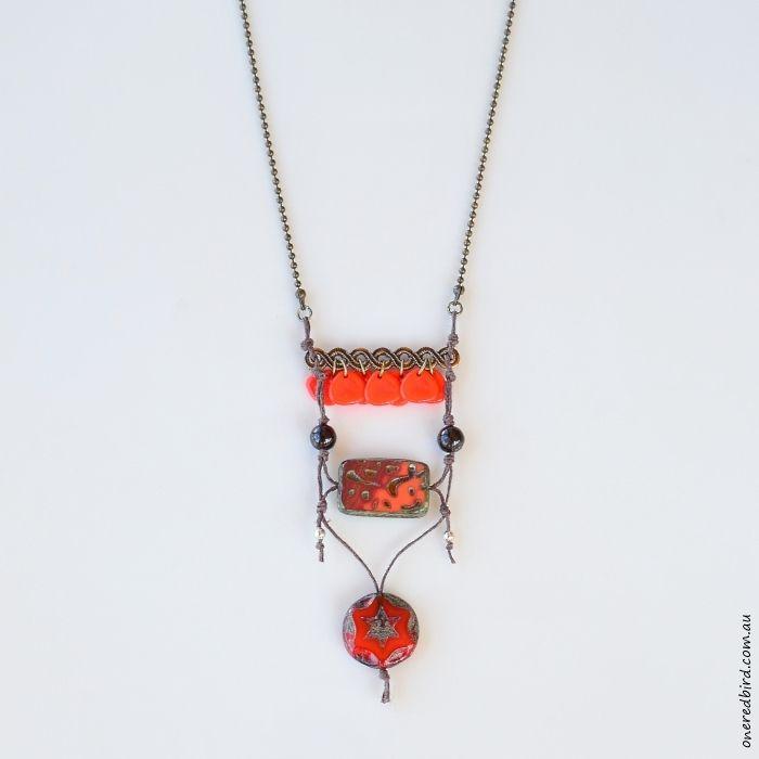 Orange Peel ~ Czech glass on brown hemp with antique brass ball chain ~ long, sits below sternum