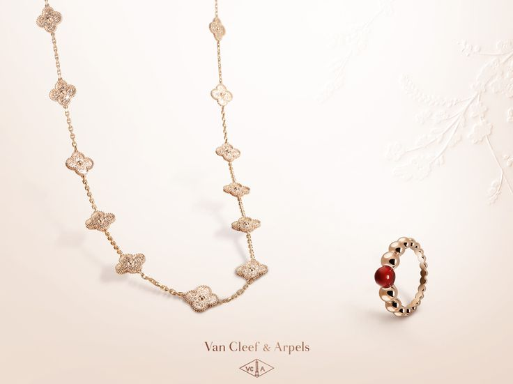The warm tone of Carnelian complements the softness of pink gold to form a delicate token of love.  Enjoy Alhambra and Perlée creations among the Van Cleef & Arpels selection for Mothers' Day: http://goo.gl/i2GFKM
