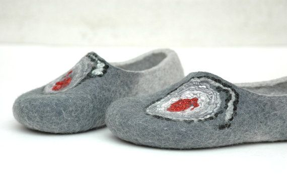 Hand felted grey slippers for a witch by jurgaZa on Etsy