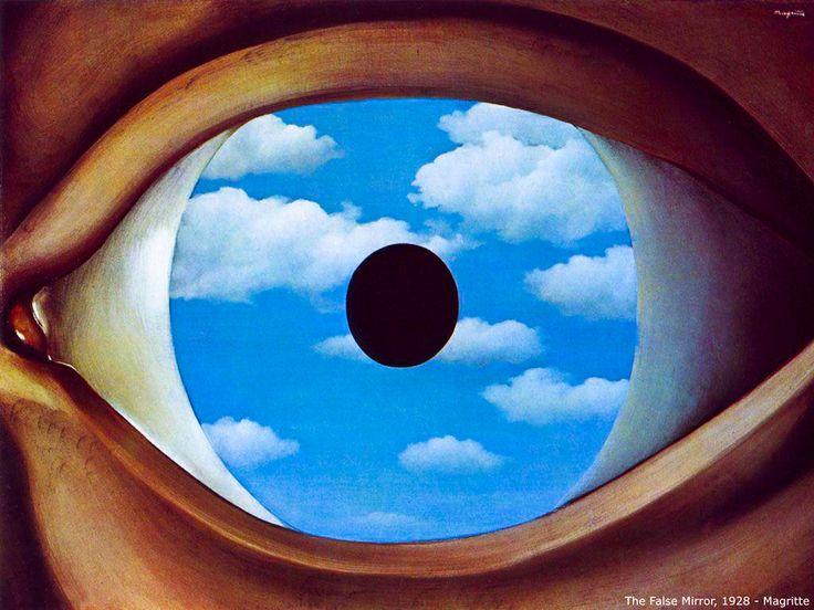 """Obra de 1928 intitulada 'The False Mirror' (O espelho falso). Pintada por René Magritte, que foi um dos principais artistas surrealistas belgas, ao lado de Paul Delvaux. Nascido em 1898, testemunhou a retirada do corpo de sua mãe, que suicidou-se por afogamento nas águas do Rio Sambre, ainda aos 14 anos de idade. Suas obras são classificadas como """"surrealismo realista"""" ou """"realismo mágico"""". Em 1927 (aos 29 anos) mudou-se para Paris."""