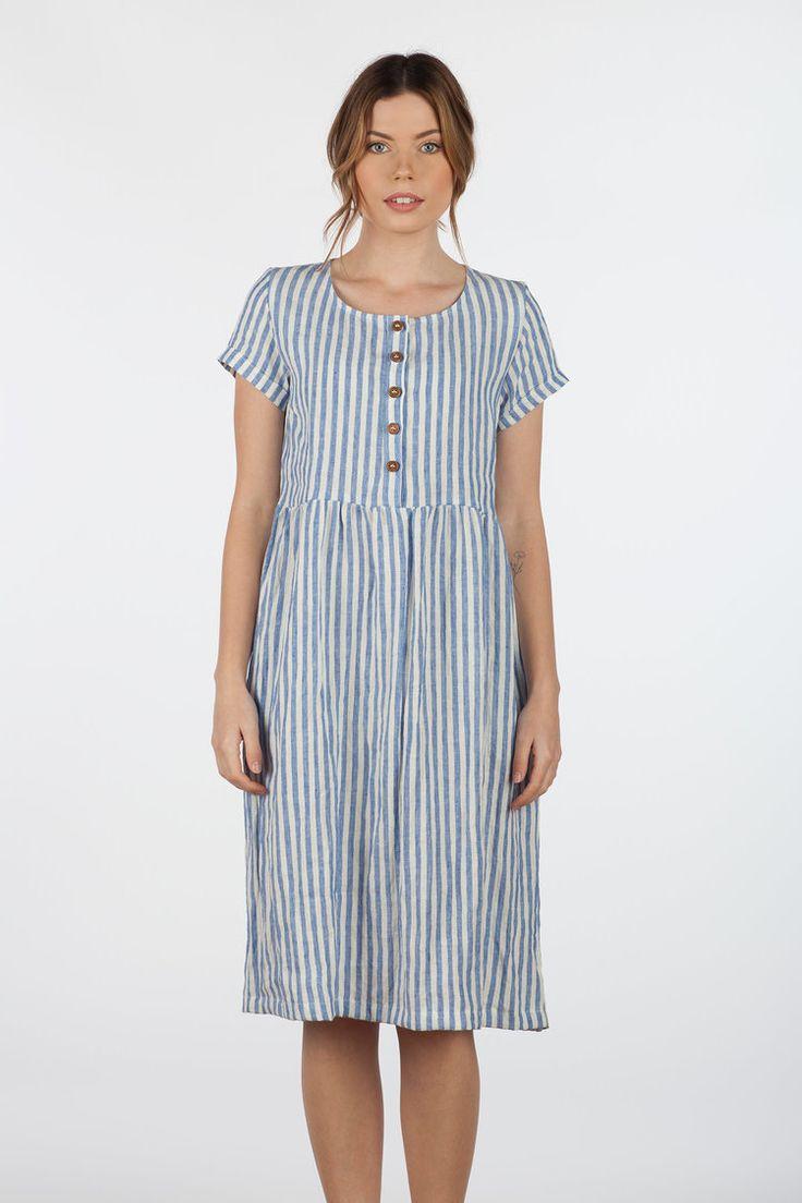 Blue stripe Linen, button up, short sleeve, midi length dress — Pyne & Smith Clothiers