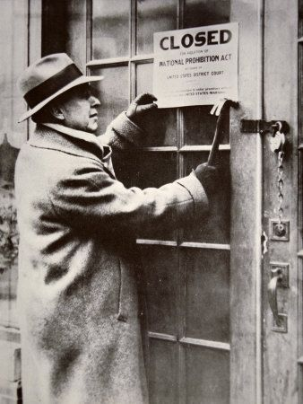 US Federal Agent Closing a Saloon  During the American Prohibition