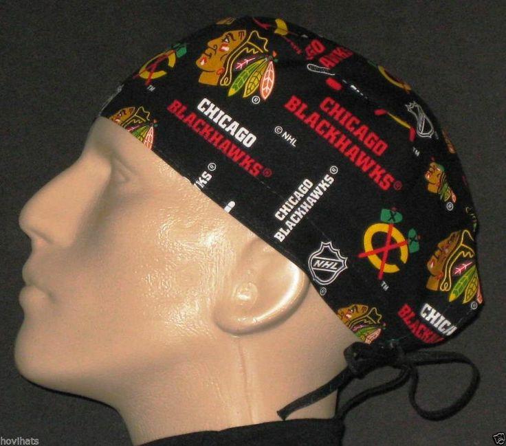 CHICAGO BLACKHAWKS 2014 BLACK SCRUB HAT / FREE CUSTOM SIZING!