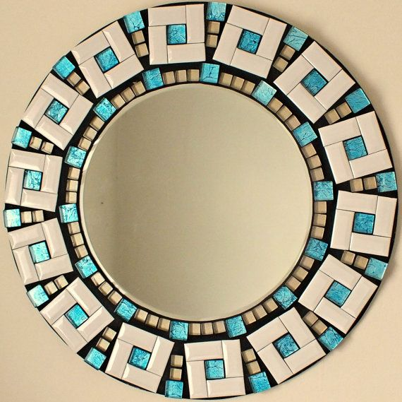 Beautiful Handmade Mosaic Mirror Bevelled Edge white ceramic and blue foiled glass Mosaic Tile