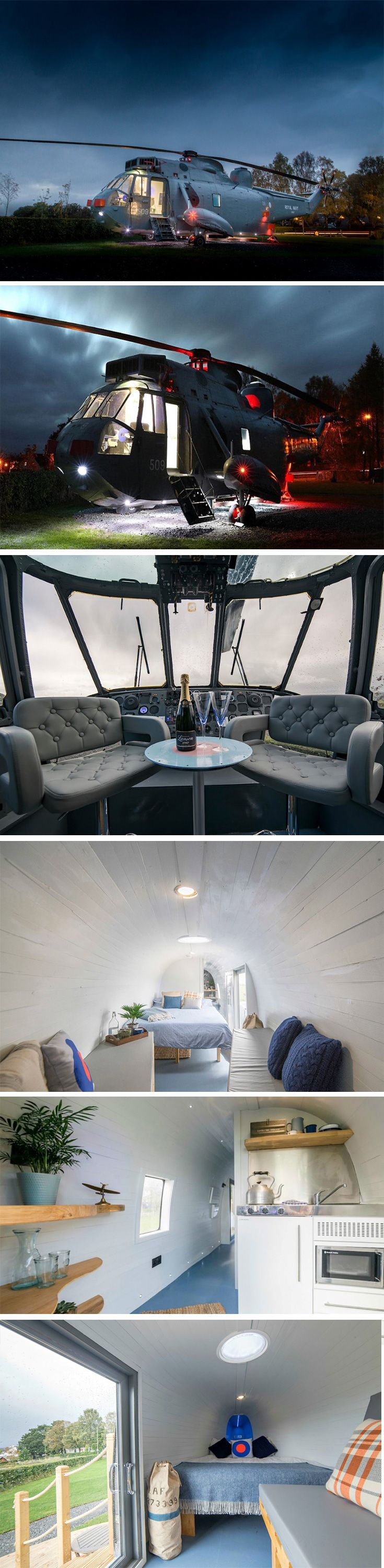 Martyn and Louise Steedman decided to convert their farmland into the perfect camping spot. However, they ditched the tents and settled for a massive  helicopter instead! The helicopter is now by far the world's coolest bed and breakfast spot ever! The helicopter's body was cleared out to make space for a  mini-kitchen, a shower-room, and sleeping space for 6. The chopper's decor on the inside is starkly different from its well-maintained outside.