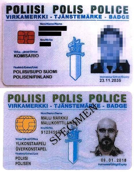 Kuvassa ylhäällä miehen tekemä poliisin virkamerkki. Alhaalla aito esimerkki virkamerkistä.