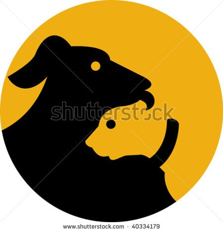 illustration of a sign, symbol or icon shown a dog and cat silhouette  #pets #icon #illustration