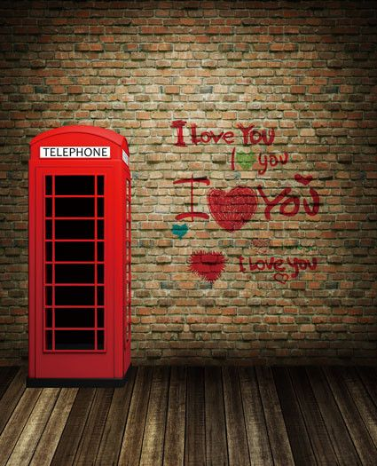 Photography Backdrops Wooden Floors. Booth, Red Brick Wall Red Letters Cm-5255