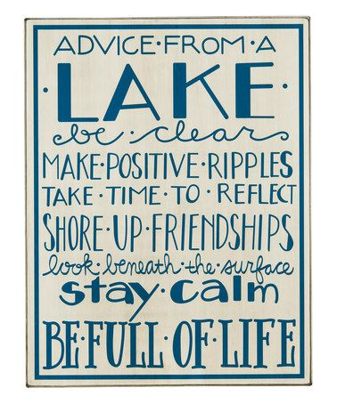 Look what I found on #zulily! 'Advice from a Lake' Box Sign #zulilyfinds