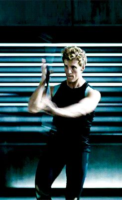 """Wielding long, violent weapons with his very strong, beautiful arms. 