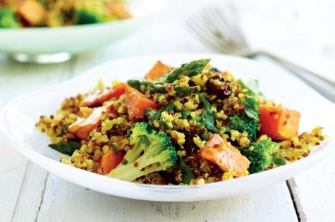 Spiced Quinoa, Sweet Potato, Brocolli & Cranberry Salad