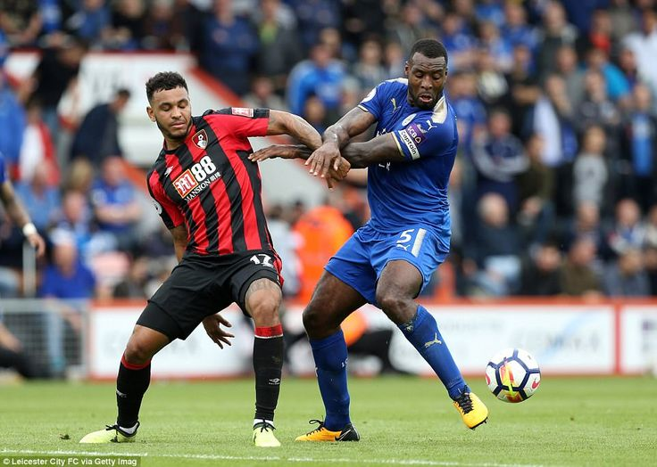 Joshua King (left), battling for the ball with defender Wes Morgan, looked very dangerous in the first-half