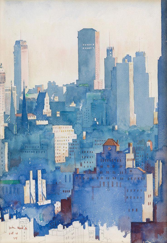 New York Skyline, 1934. John Held Jr. Watercolor and pencil on paper