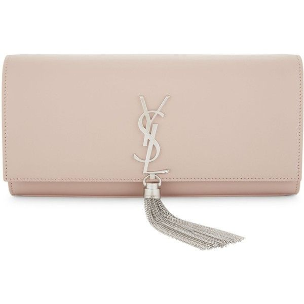 Saint Laurent Ladies Pale Blush Tassel Feminine Kate Leather Clutch ($1,490) ❤ liked on Polyvore featuring bags, handbags, clutches, genuine leather purse, yves saint laurent purse, pink leather purse, tassel handbag and pink clutches