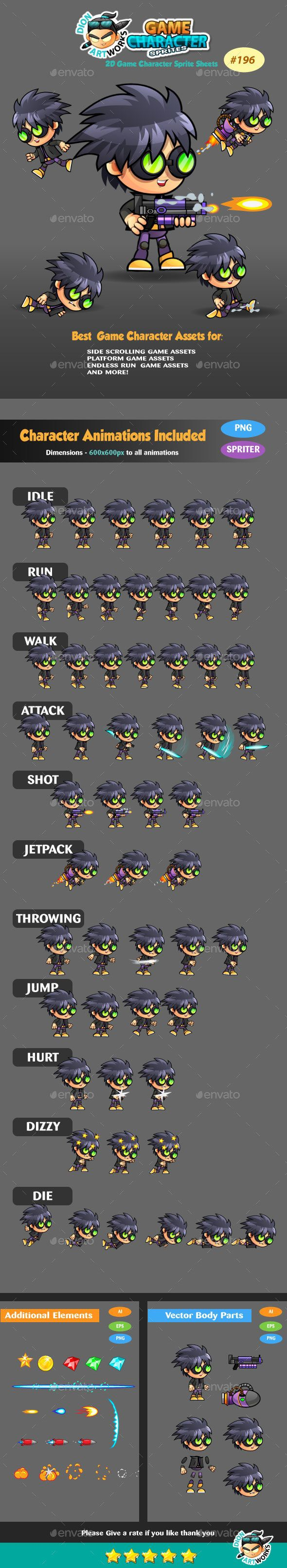 2D #Game Character Sprites 196 - Sprites Game #Assets Download here: https://graphicriver.net/item/2d-game-character-sprites-196/15020384?ref=alena994