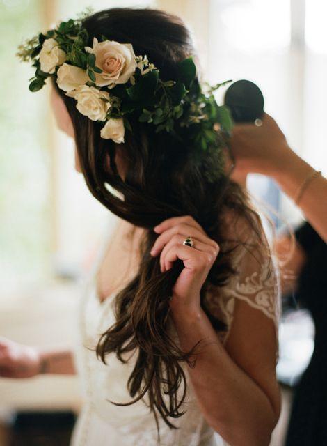 ethereal woodland wedding of the artist Skylar Shaw ~ flower crown ~wavy boho hair ~ bhldn lita ~ antique black diamond engagement ring ~