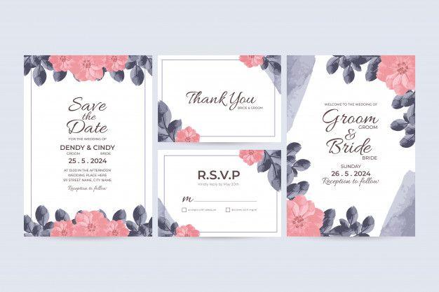 Wedding Invitation Card Template With Watercolor Floral Frame Decorations Wedding Invitation Card Template Wedding Invitation Cards Watercolor Wedding Invitations
