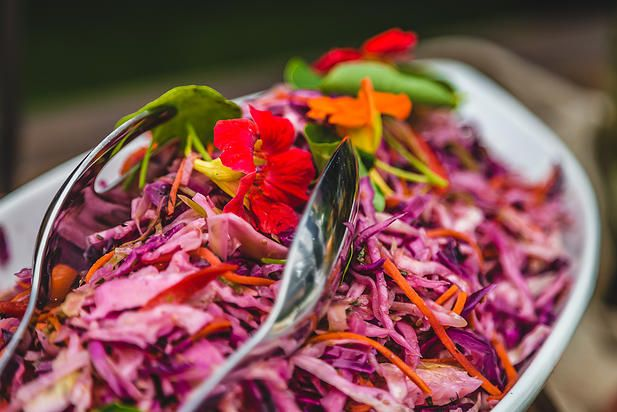 Central Texas Slaw cabbage, Carrots, Peppers, red Onion Charred Orange Cumin Dressing Toque Catering Company Victoria BC | D & J - Wedding Part One