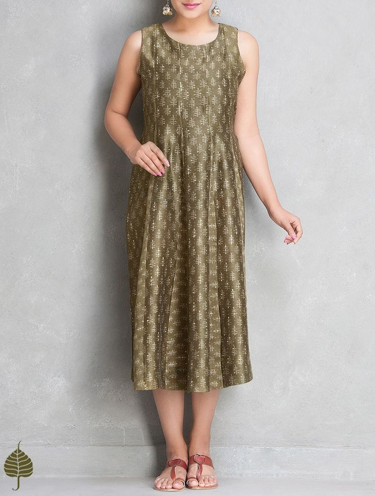 Buy Olive Ecru Dabu Printed Chanderi Dress by Jaypore The Label Online at Jaypore.com