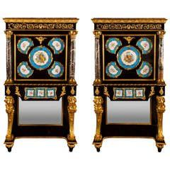 Pair of Ormolu, Marble and Sevres Style Porcelain Mounted Cabinets