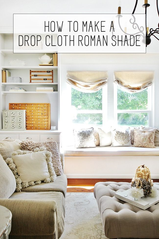 How to make a drop cloth Roman blind.