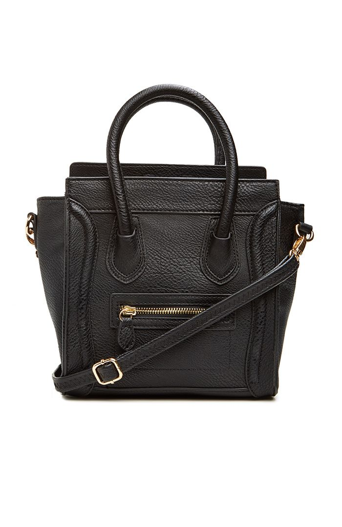 DAILYLOOK Mini Structured Handbag. Faux leather with double handles, one exterior zip pocket, and a detachable shoulder strap.