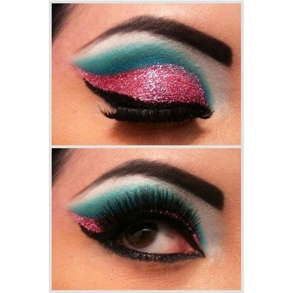 pink and turquoise glitter eye shadow found on Polyvore: Eye Makeup, Style, Color, Eye Make Up, Eyeshadows, Pink Glitter, Eyemakeup, Beauty