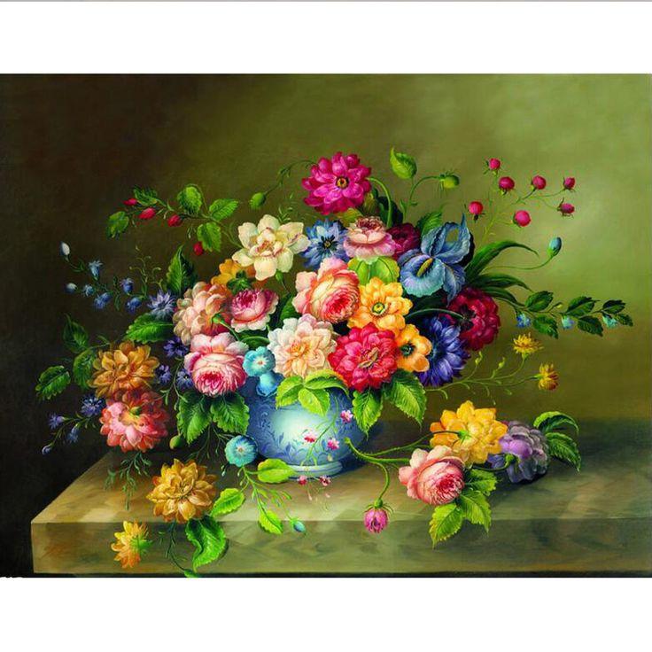 Diy Diamond Embroidery Flower Vase Full Diamond Painting Cross Stitch 60cm*45cm for the Bedroom 3D Square Diamond Mosaic mural #Affiliate