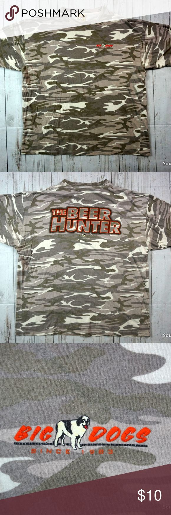 """Bigs Dogs - The Beer Hunter Camo T-Shirt Men's XL BIG DOGS - The BEER HUNTER Vintage 2007 Camouflage T-Shirt Adult XL, Extra Large  Detailed Measurements: (Front Side of Garment has been measured laying flat on a table)  Measurements:  Sleeves:..............    """" inches Chest:.................    """" inches Length:…..........     """" inches  Ships in Business day or less from a clean and smoke free environment. Big Dogs Shirts Tees - Short Sleeve"""