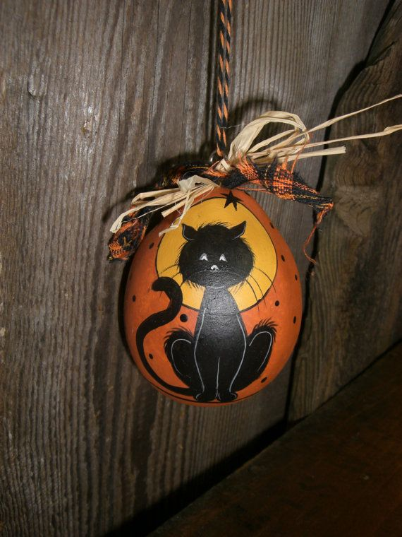 Halloween Vintage Style Ornament Cat Ornie Hand by TheRootCellar, $8.00