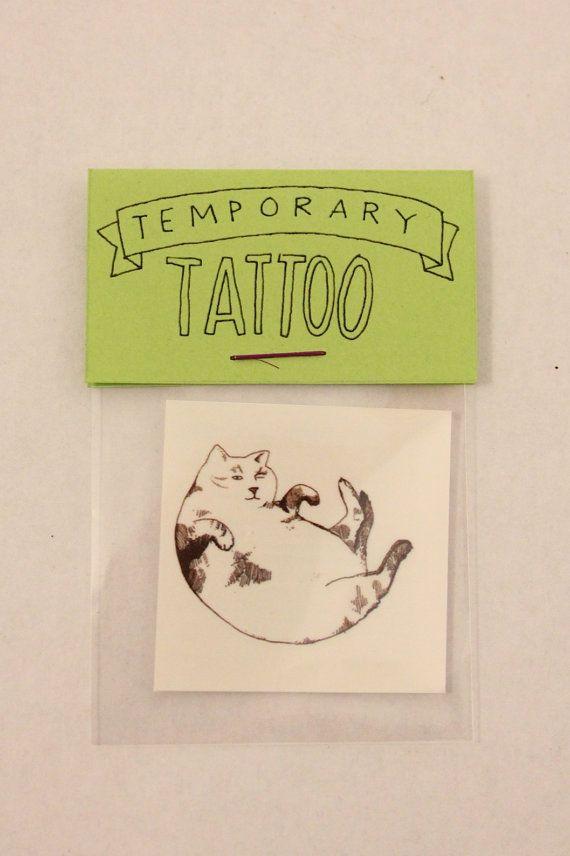 Fat Cat Temporary Tattoo on Etsy, $2.50