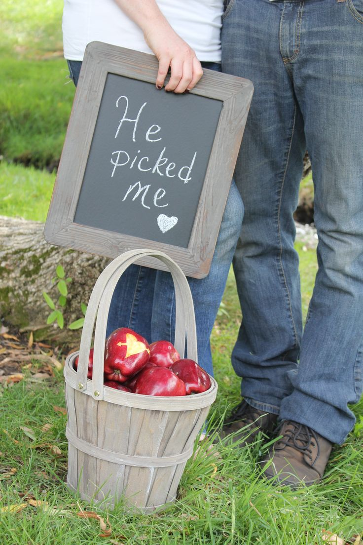 """He Picked Me"" apple engagement photo"
