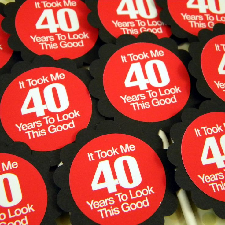 40th Birthday Cupcake Toppers - It Took Me 40 Years to Look This Good, Set of 12. $10.00, via Etsy.