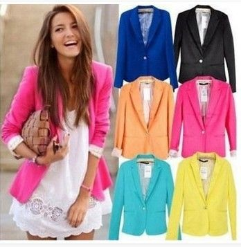 2013 one button multicolour candy color women slim suit blazer outerwear US $9.60